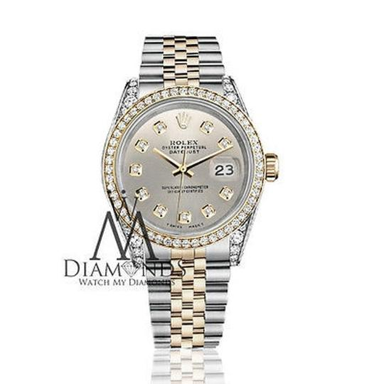 Rolex Stainless Steel And Gold Mm Datejust Watch Silver Diamond Dial Image 1