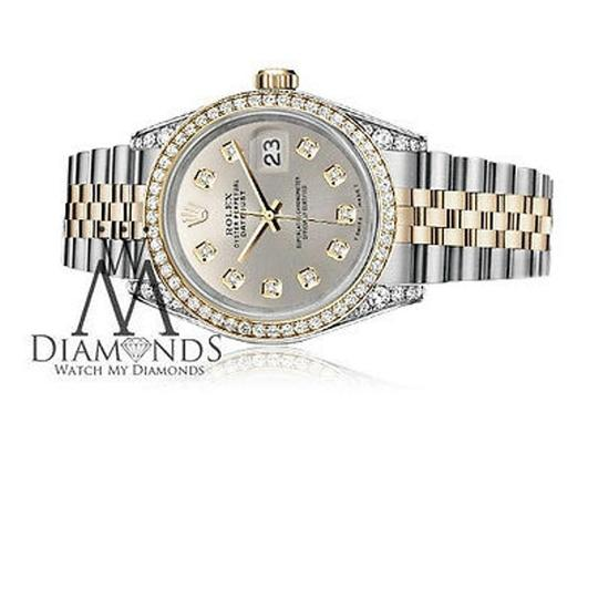 Rolex Stainless Steel And Gold Mm Datejust Watch Silver Diamond Dial Image 2