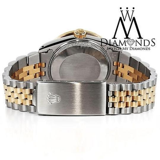 Rolex Stainless Steel And Gold Mm Datejust Watch Silver Diamond Dial Image 5