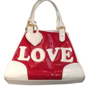 Moschino New White Satchel in red