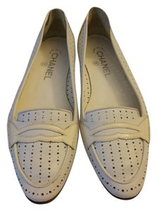 Chanel Patent Leather White Flats