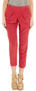 Vanessa Bruno Silk Straight Pants red