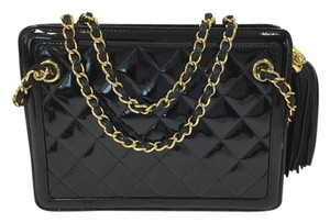 Chanel Quilted Tassel Patent Leather Shoulder Bag