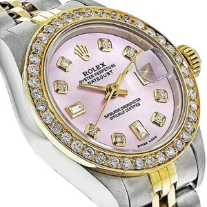 Rolex Pre-owned 69173 Womens Datejust Two-tone Gold Watch With Diamond Bezel