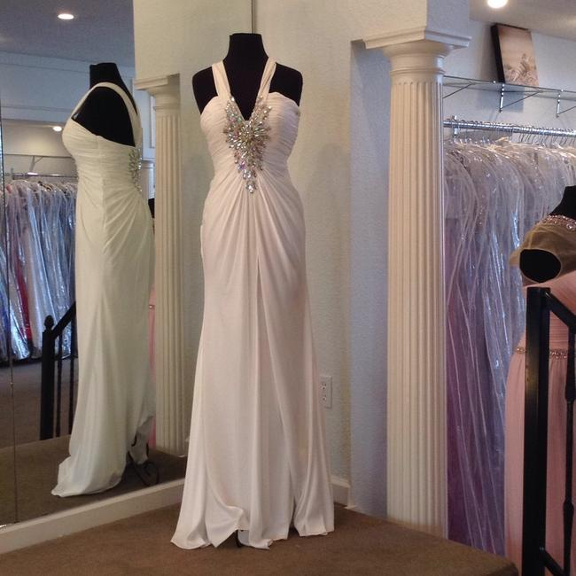 Night Moves Prom Collection White Chiffon Destination Wedding Dress Size 4 (S) Night Moves Prom Collection White Chiffon Destination Wedding Dress Size 4 (S) Image 1