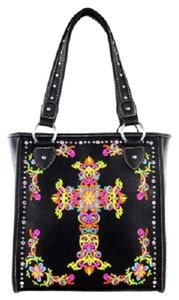 Montana West Embroidery Colorful Tote in Black