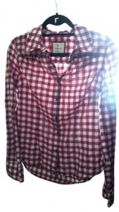Forever 21 Casual Button Down Shirt Red and White Plaid
