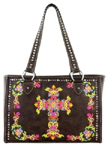 Montana West Embroidery Colorful Satchel in Brown