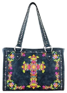 Montana West Embroidery Colorful Satchel in Blue