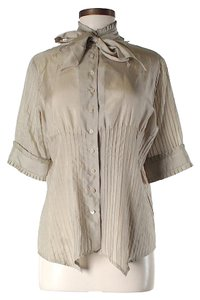 Yigal Azrouël Silk Pleated Button Down Shirt Beige