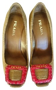 Prada Tan Neutral Cloth Hot Pink Wedges