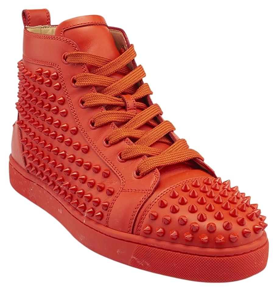 release date: 5423c 04074 Christian Louboutin Orange Mens Louis Spikes Leather 42 (84659) Sneakers  Size US 9