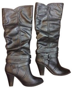 Charming Charlie Heeled Buckle Black Boots