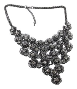 Flower Bib Necklace w Austrian Crystals 18-20in w Free Shipping