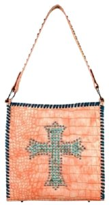 Montana West Spiritual Cross Croc Print Shoulder Bag
