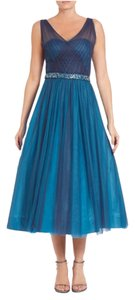 Monique Lhuillier Tea Length V-neck Pleated Gown Sleeveless Dress