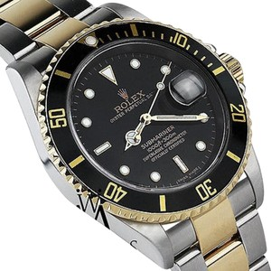 Rolex Mens Submariner 40mm 2-tone Gold Steel Black Index Dial Watch 16613