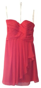 David's Bridal Persimmon Chiffon Crinkle Front Cascade Formal Bridesmaid/Mob Dress Size 4 (S)
