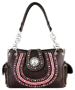 Montana West Tooled Beads Crystals Studded Satchel in Brown