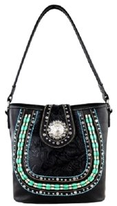 Montana West Tooled Beads Crystals Studded Shoulder Bag