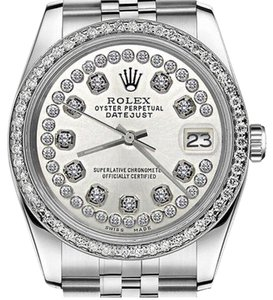 Rolex Womens 26mm Datejust Stainless Steel Silver String Diamond Accent Watch