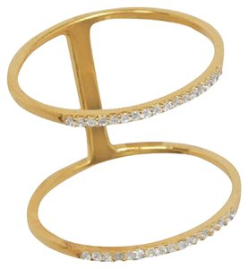 Other 18 Karat Gold Plated Wide Double Row CZ Ring (sizes 5-10)