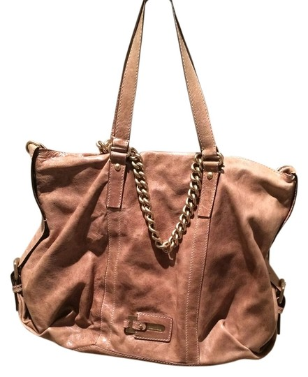 Max Mara Designer Leather Tote Satchel in Beige