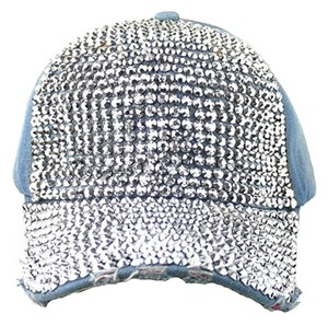 Blue Jeans Washed Denim Bling Bling Rhinestone Crystal Distressed Denim Baseball Cap Hat