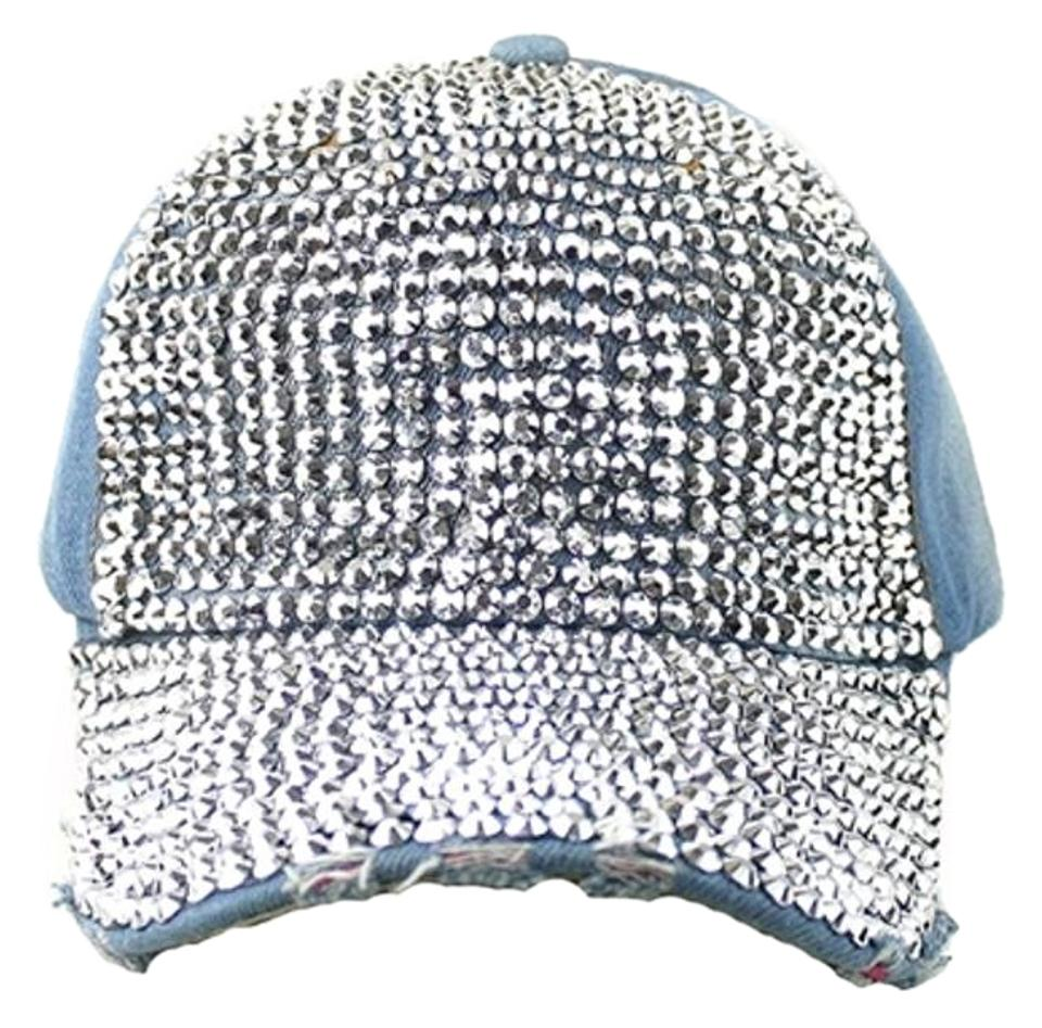 Other Denim Bling Bling Rhinestone Crystal Distressed Denim Baseball Cap ... d96fc9e1b9b