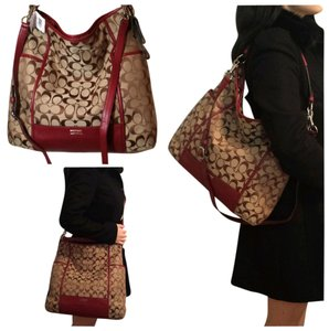 Coach Park Duffle Handbag Shoulder Shoulder Crossbody Slouch Red Khaki Signature Silver New Purse Jacquard Fabric Hobo Bag