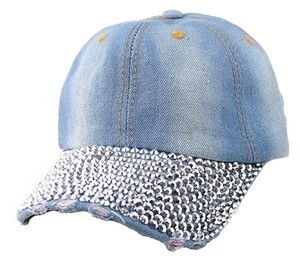 Other Rhinestone And Crystal Accent Distressed Denim Baseball Cap