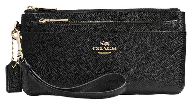 Coach Black With Removeable Pouch In Embossed Textured Leather (Ship Via Priority Mail) Wallet Coach Black With Removeable Pouch In Embossed Textured Leather (Ship Via Priority Mail) Wallet Image 1