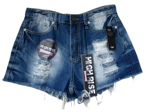 YMI Jeans High Waisted Stretchy Distressed Bleached Shorts blue