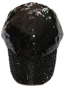 Black Bling Bling Rhinestone Crystal Sequins Baseball Cap Hat