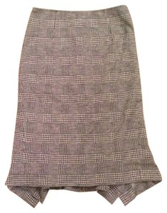 Max Mara Pencil Houndstooth Designer Work Classic Skirt Black/Cream
