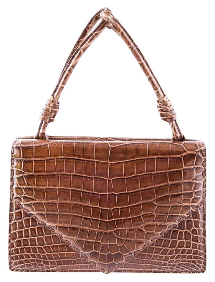 5cd626ff7c97 Bottega Veneta Chene Fume Piano Brown Crocodile Skin Leather Tote ...