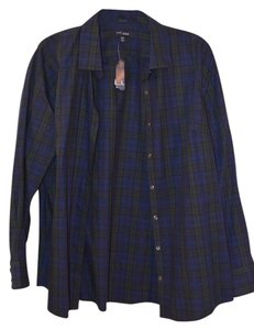 Lands' End Plus Size Long Sleeve Button Down Shirt Navy Blue and Green