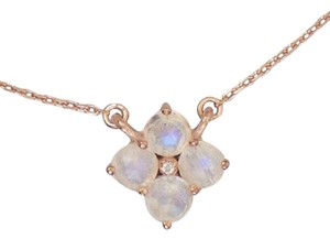 Other 14 Karat Rose Gold Plated Moonstone Flower Necklace