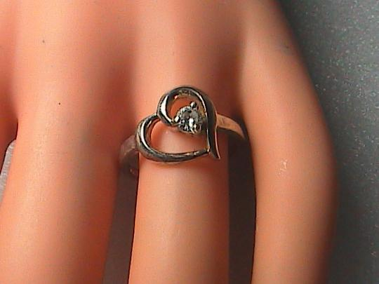 Vintage Sterling Silver CZ Heart Ring