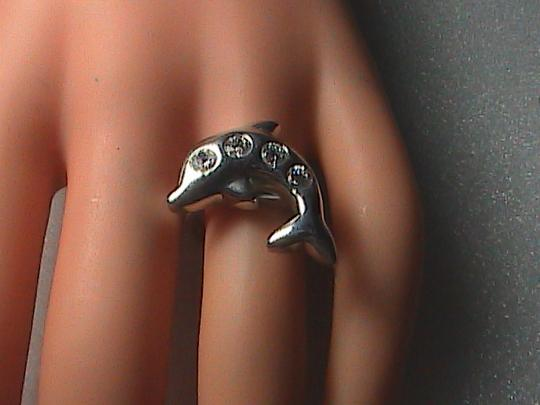 Vintage Sterling Silver CZ Dolphin Ring