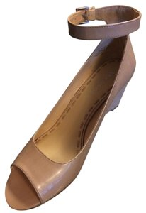 Enzo Angiolini Formal Ankle Strap Open Toe Dressy Wedge buff Pumps