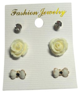 New 3 Pair Stud Earrings White Bow Flower Crystal J2597