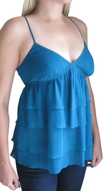 Preload https://img-static.tradesy.com/item/15812356/express-blue-women-s-teal-spaghetti-strap-ruffle-tank-topcami-size-4-s-0-1-650-650.jpg