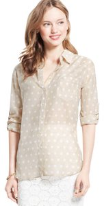 Ann Taylor Button Up Polka Dot Button Down Shirt Beige
