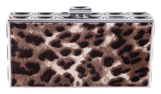 Judith Leiber Couture Leopard Crystal Brown Metal Clutch Judith Leiber Couture Leopard Crystal Brown Metal Clutch Image 1