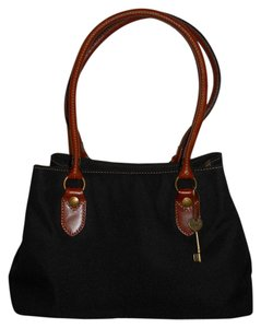 Fossil Satchel Nylon Leather Tote in black & tan
