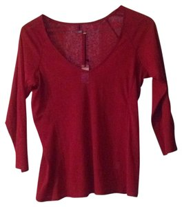 Joy Li Raglan V-neck Three Quarter Sleeve Top Burgundy