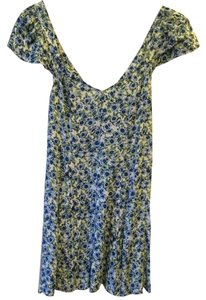 Urban Outfitters short dress Blue Patterned Flower Openback on Tradesy