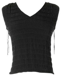 M Missoni Silk Textured Tassels Top Black