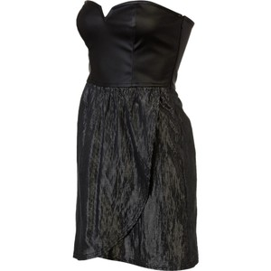 Hurley Strapless Sweetheart Top Faux Leather Metallic Tulip Skirt Dress